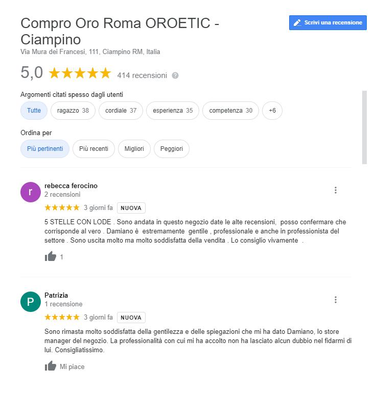 recensioni compro oro a Ciampino
